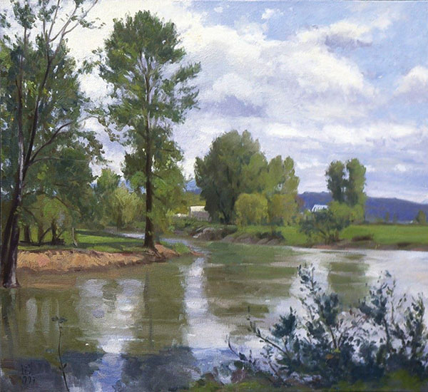 Painting: Bend Of The River II, oil on canvas, 34 X 36 inches, copyright ©1997