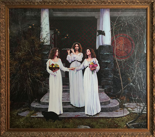 Painting: Three Sirens, oil on linen, 30 x 34 inches, copyright ©1977