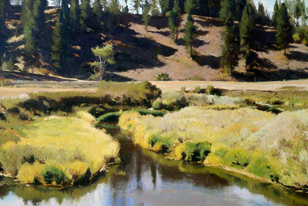 Painting: Hangman Creek, Spring, oil on canvas, oil on canvas, 22 x 32 inches, copyright ©1988