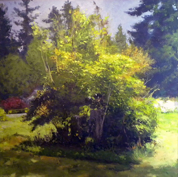Painting: The Thing In The Yard oil on canvas, 36 x 36 inches, copyright ©2015