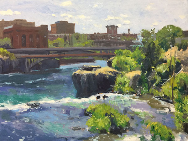 Painting: Above The Falls, oil on panel, 18 x 24 inches, copyright ©2017