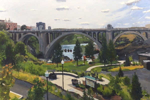 Painting: Gondolas (Monroe Street Bridge), oil on panel, 24 x 36 inches, copyright ©2017
