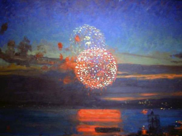 Painting: Fireworks Over Lake Union, oil on canvas, 18 x 24 inches, copyright ©2004