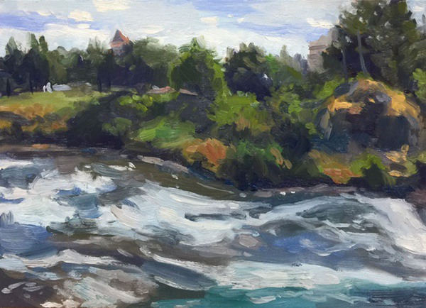 Painting: Riverfront Park Apunte, oil on panel, 9 x 12 inches, copyright ©2017