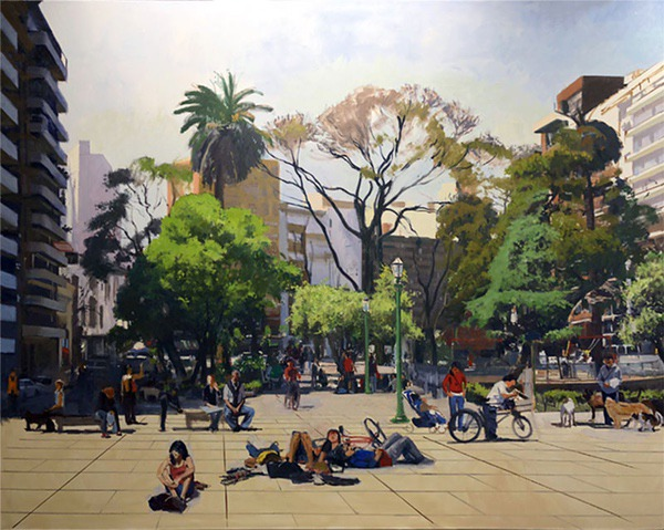Plaza Guemes, Buenos Aires, oil on canvas, 76 x 96 inches, work in progress, copyright ©2014