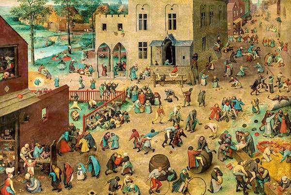 Children's Games, Pieter Bruegel the Elder, oil on panel, 46 in × 63 inches, 1560–1560, Kunsthistorisches Museum, Vienna