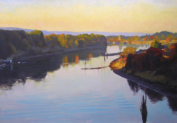 View From Sauvie Island Bridge II, oil on canvas, 48 X 72 inches, copyright ©2006
