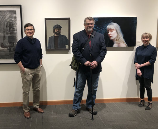 Opening Reception, Portraits and Self Portraits by Northwest Artists 1910 - 2018, Cascadia Art Museum. From left to right, Gary Faigin, William Elston and  Aleah Chapin.