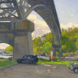 Beneath The Aurora Bridge, oil on canvas, 36 x 36 inches, copyright ©2004, $4,500