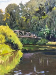 Pedestrian Bridge Apunte 1, oil on panel, 12 x 9 inches, copyright ©2018, $900