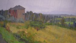 Driving Rain, oil on canvas, 17 x 30 inches, copyright ©2008, $2,600