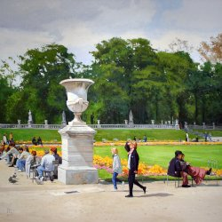Luxembourg Gardens, (Love in Paris), oil on canvas. 72 X 72 inches, copyright ©2010, $14,000