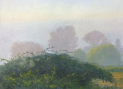 Morning Fog 2: Snohomish Valley, oil on prepared paper, 22 X 30 inches, copyright ©2014, $3,800