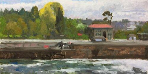 Hiram Chittenden Locks (Ballard), oil on panel, 18 x 36 inches, work in progress copyright ©2018