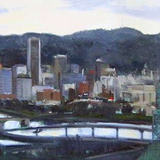City Of Bridges, oil on canvas, 17 x 30 inches, copyright ©1999