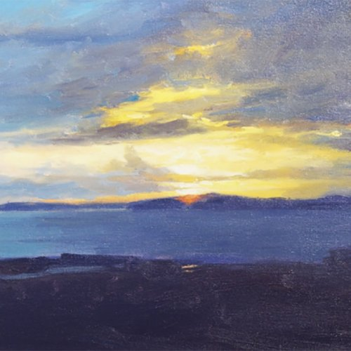 Sunset, Puget Sound, oil on canvas, 11.5 X 15.25 inches, copyright ©1990
