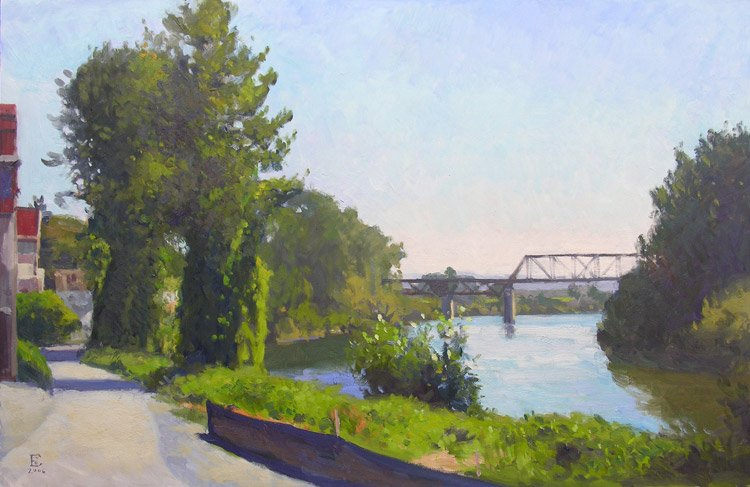 Snohomish Riverfront, oil on panel, 24 x 36 inches, copyright ©2006