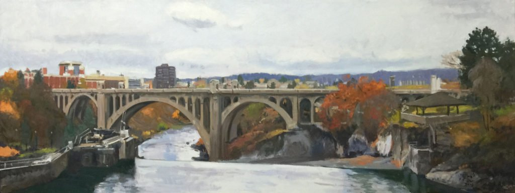 Crossing The River (Monroe Street Bridge), oil on canvas, 24 x 64 inches, copyright ©2016