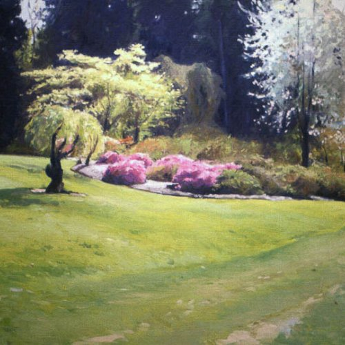 Arboretum, Two Women, oil on canvas, 36 X 48 inches, copyright ©1990