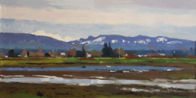 Farm To Market Road 1, oil on panel, 10 x 20 inches, copyright ©2016