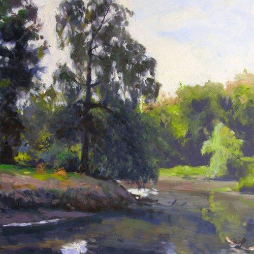 Arboretum Pond, oil on panel, 24 x 18 inches, copyright ©2002