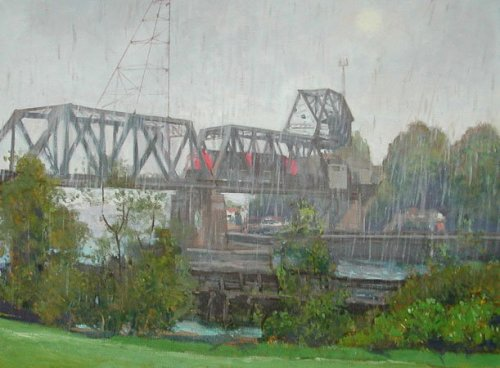 Raining Bridge, oil on canvas, 30 x 40 inches, copyright ©2003