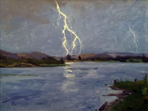 Lightning Over Spirit Lake, oil on canvas, 18 x 24 inches, copyright ©1993