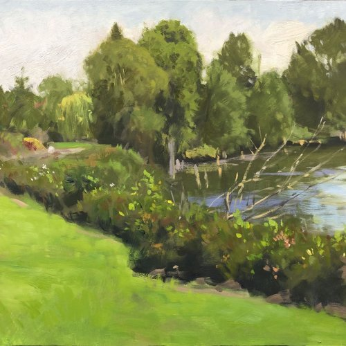 Lowell Riverfront Trail (Rotary Park), oil on panel, 16 x 20 inches, copyright ©2019