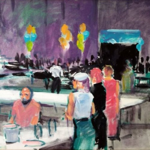 BAM Event, w/soluble oil on canvas, 18 x 24 inches, copyright ©1995