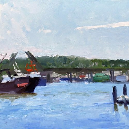 Untitled (Fishermen's Terminal), oil on panel, 18 x 24 inches, copyright ©1998