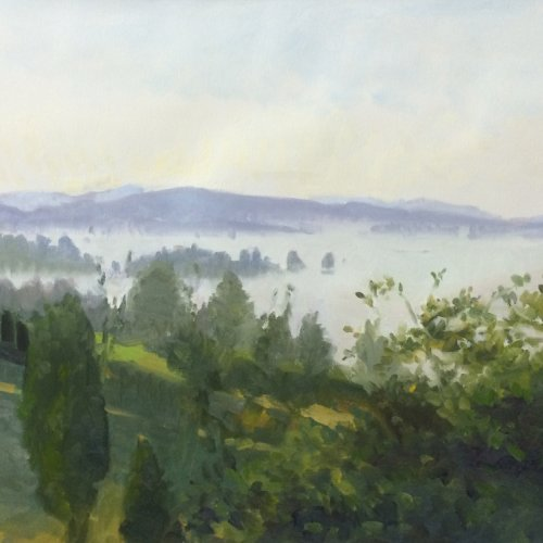 Morning Fog: Snohomish Valley, oil on prepared paper, 22 x 30 inches, copyright ©2014