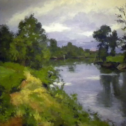Bend In The River, oil on canvas, 30 x 32 inches,