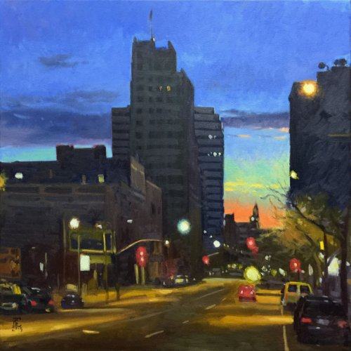 Night And The City, oil on canvas, 36 x 36 inches, copyright ©2015