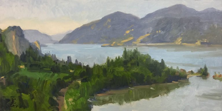 View From Claire's (Griffin House) 2, oil on panel, 12 x 24 inches, copyright ©2017