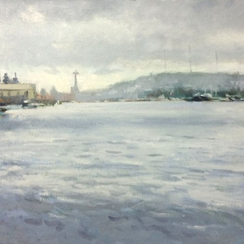 Lake Union, oil on canvas, 16 x 20 inches, copyright ©2014