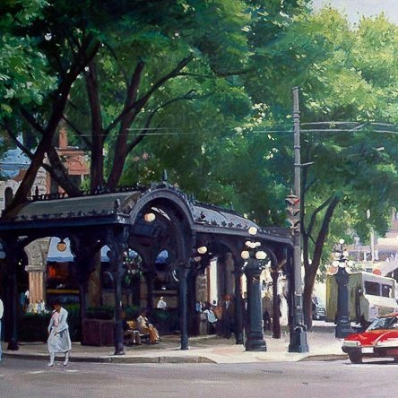 Pergola, Red Car, oil on canvas, 32 X 54 inches, copyright ©1989