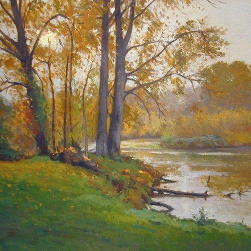 Rain – Arboretum, oil on canvas, 30 X 40 inches, copyright ©2001