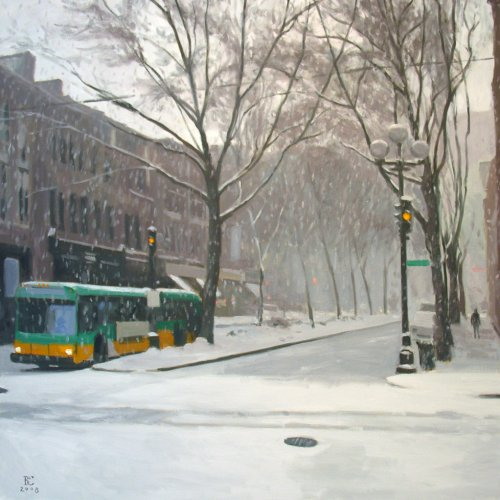 Heavy Snow I, oil on canvas, 36 X 36 inches, copyright ©2008