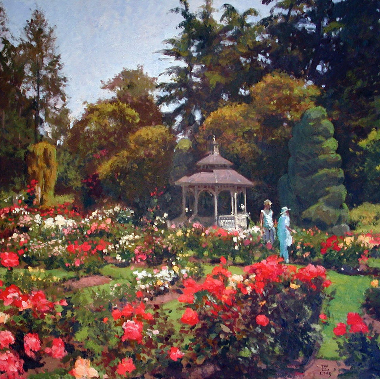 Woodland Park Rose Garden, oil on canvas, 36 x 36 inches, copyright ©2003