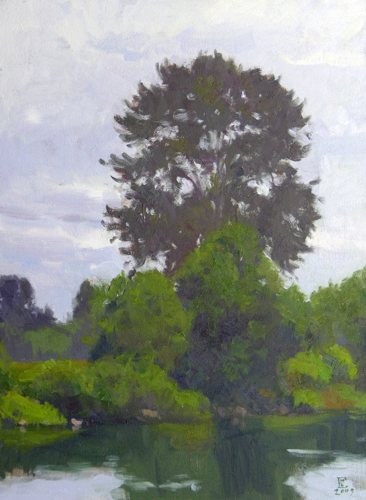 On The Snohomish River, oil on canvas, 24 X 18 inches, copyright ©2009