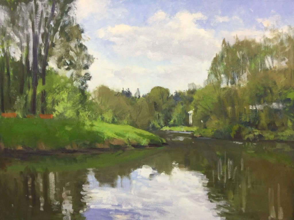 Sammamish River at Bothell Landing, oil on canvas, 30 x 40 inches, work in progress ©2017