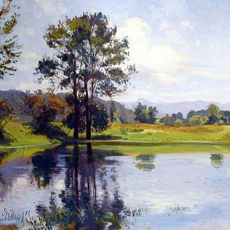 Pond, oil on canvas, 36 x 36 inches, copyright ©2004