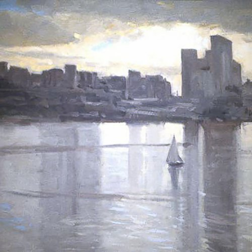Lake Union, oil on canvas, 18 X 26 inches, copyright ©1991