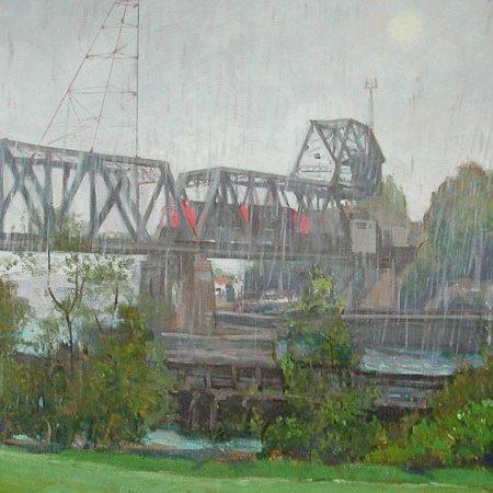 Raining Bridge, oil on canvas, 30 x 40 inches, copyright ©2003