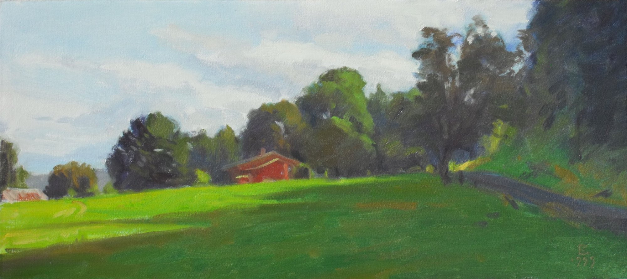 Bob Pepper's Farm, oil on canvas, 11 x 22 inches, copyright ©1999