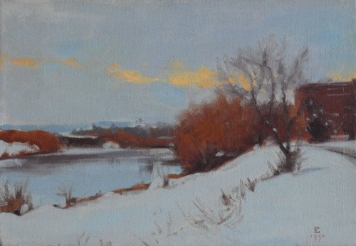 Snow Scene, oil on canvas, 11 x 16 inches, copyright ©1990