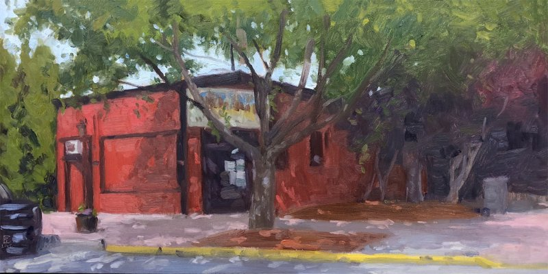 Smokey Joe's, Snoqualmie WA, oil on panel, 12 x 24 inches, copyright ©2018