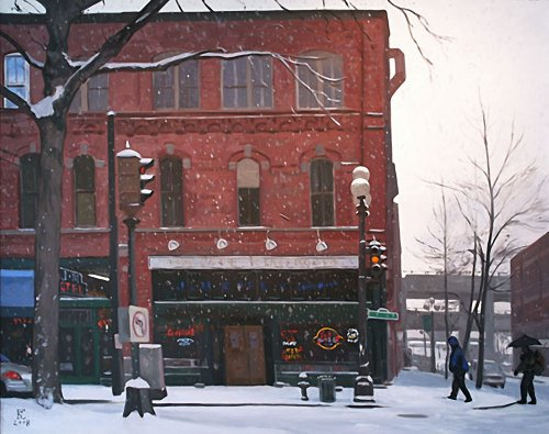 J & M Cafe In The Snow, oil on canvas, size unknown, copyright ©2008