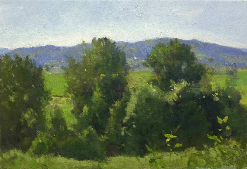 Snohomish Valley Study – Greens, oil on canvas, 11 x 16 inches, copyright ©2014