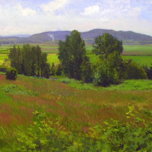 Snohomish Valley w/ Mt. Rainier, oil on canvas, 36 x 48 inches, copyright ©2008